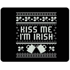 Kiss Me I m Irish Ugly Christmas Black Background Double Sided Fleece Blanket (Medium)  by Onesevenart