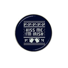 Kiss Me I m Irish Ugly Christmas Blue Background Hat Clip Ball Marker by Onesevenart