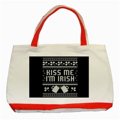 Kiss Me I m Irish Ugly Christmas Blue Background Classic Tote Bag (red) by Onesevenart