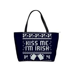 Kiss Me I m Irish Ugly Christmas Blue Background Shoulder Handbags by Onesevenart