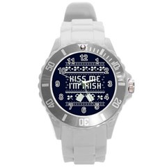 Kiss Me I m Irish Ugly Christmas Blue Background Round Plastic Sport Watch (l) by Onesevenart