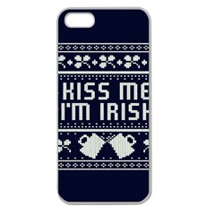 Kiss Me I m Irish Ugly Christmas Blue Background Apple Seamless Iphone 5 Case (clear) by Onesevenart