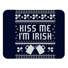 Kiss Me I m Irish Ugly Christmas Blue Background Double Sided Flano Blanket (large)  by Onesevenart