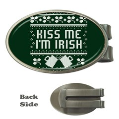 Kiss Me I m Irish Ugly Christmas Green Background Money Clips (oval)  by Onesevenart