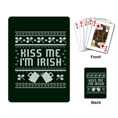 Kiss Me I m Irish Ugly Christmas Green Background Playing Card by Onesevenart