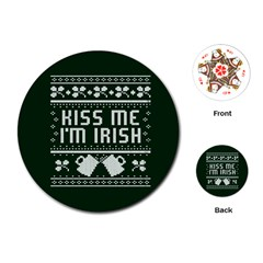 Kiss Me I m Irish Ugly Christmas Green Background Playing Cards (round)  by Onesevenart