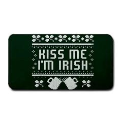Kiss Me I m Irish Ugly Christmas Green Background Medium Bar Mats by Onesevenart