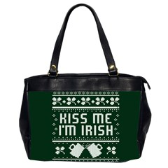 Kiss Me I m Irish Ugly Christmas Green Background Office Handbags (2 Sides)  by Onesevenart