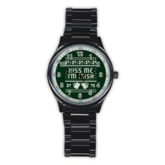 Kiss Me I m Irish Ugly Christmas Green Background Stainless Steel Round Watch by Onesevenart
