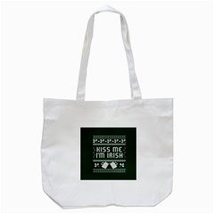 Kiss Me I m Irish Ugly Christmas Green Background Tote Bag (white) by Onesevenart