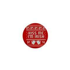 Kiss Me I m Irish Ugly Christmas Red Background 1  Mini Buttons by Onesevenart