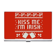 Kiss Me I m Irish Ugly Christmas Red Background Business Card Holders by Onesevenart