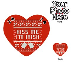 Kiss Me I m Irish Ugly Christmas Red Background Playing Cards 54 (heart)  by Onesevenart