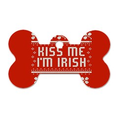 Kiss Me I m Irish Ugly Christmas Red Background Dog Tag Bone (One Side) by Onesevenart