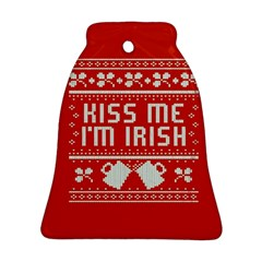 Kiss Me I m Irish Ugly Christmas Red Background Ornament (bell)  by Onesevenart