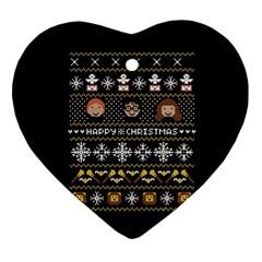 Merry Nerdmas! Ugly Christma Black Background Ornament (heart)  by Onesevenart