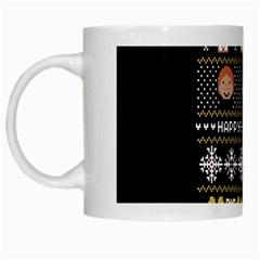 Merry Nerdmas! Ugly Christma Black Background White Mugs by Onesevenart