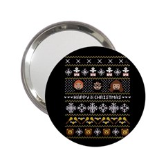 Merry Nerdmas! Ugly Christma Black Background 2 25  Handbag Mirrors by Onesevenart