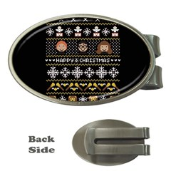 Merry Nerdmas! Ugly Christma Black Background Money Clips (oval)  by Onesevenart