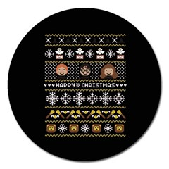 Merry Nerdmas! Ugly Christma Black Background Magnet 5  (round) by Onesevenart