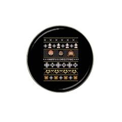 Merry Nerdmas! Ugly Christma Black Background Hat Clip Ball Marker by Onesevenart