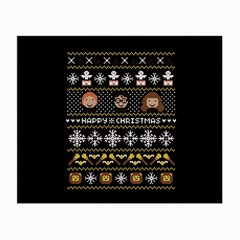 Merry Nerdmas! Ugly Christma Black Background Small Glasses Cloth by Onesevenart