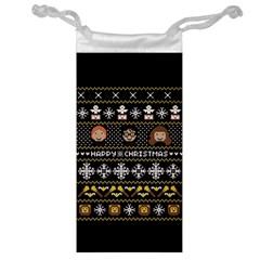 Merry Nerdmas! Ugly Christma Black Background Jewelry Bags by Onesevenart