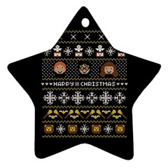 Merry Nerdmas! Ugly Christma Black Background Star Ornament (two Sides)  by Onesevenart