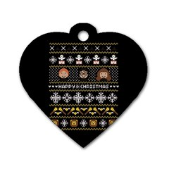 Merry Nerdmas! Ugly Christma Black Background Dog Tag Heart (two Sides) by Onesevenart