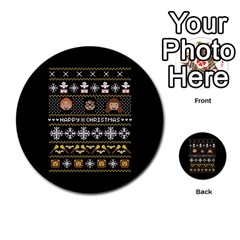 Merry Nerdmas! Ugly Christma Black Background Multi Purpose Cards (round)  by Onesevenart