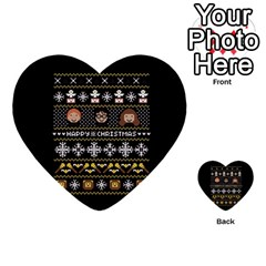 Merry Nerdmas! Ugly Christma Black Background Multi Purpose Cards (heart)  by Onesevenart