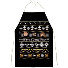 Merry Nerdmas! Ugly Christma Black Background Full Print Aprons by Onesevenart