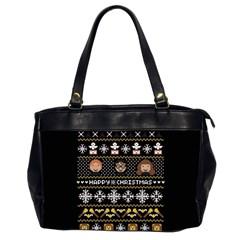 Merry Nerdmas! Ugly Christma Black Background Office Handbags (2 Sides)  by Onesevenart