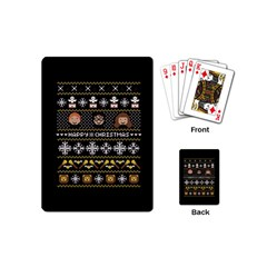 Merry Nerdmas! Ugly Christma Black Background Playing Cards (mini)  by Onesevenart