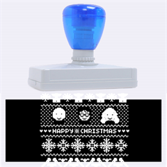 Merry Nerdmas! Ugly Christma Black Background Rubber Address Stamps (xl) by Onesevenart