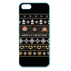 Merry Nerdmas! Ugly Christma Black Background Apple Seamless Iphone 5 Case (color) by Onesevenart
