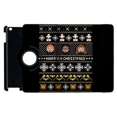 Merry Nerdmas! Ugly Christma Black Background Apple Ipad 2 Flip 360 Case by Onesevenart