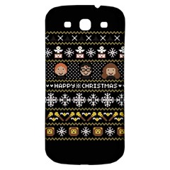 Merry Nerdmas! Ugly Christma Black Background Samsung Galaxy S3 S Iii Classic Hardshell Back Case by Onesevenart