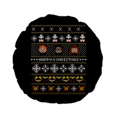 Merry Nerdmas! Ugly Christma Black Background Standard 15  Premium Round Cushions by Onesevenart