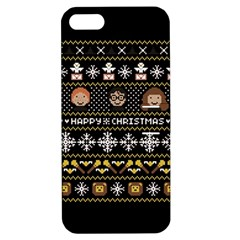 Merry Nerdmas! Ugly Christma Black Background Apple Iphone 5 Hardshell Case With Stand by Onesevenart