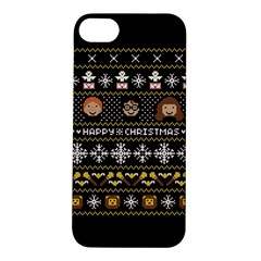 Merry Nerdmas! Ugly Christma Black Background Apple Iphone 5s/ Se Hardshell Case by Onesevenart