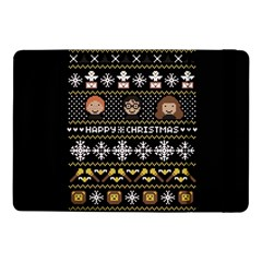 Merry Nerdmas! Ugly Christma Black Background Samsung Galaxy Tab Pro 10 1  Flip Case by Onesevenart