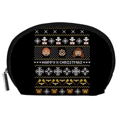 Merry Nerdmas! Ugly Christma Black Background Accessory Pouches (large)  by Onesevenart
