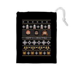 Merry Nerdmas! Ugly Christma Black Background Drawstring Pouches (large)  by Onesevenart