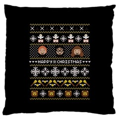 Merry Nerdmas! Ugly Christma Black Background Standard Flano Cushion Case (one Side) by Onesevenart