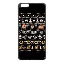 Merry Nerdmas! Ugly Christma Black Background Apple Iphone 6 Plus/6s Plus Black Enamel Case by Onesevenart