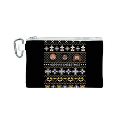 Merry Nerdmas! Ugly Christma Black Background Canvas Cosmetic Bag (s) by Onesevenart
