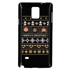 Merry Nerdmas! Ugly Christma Black Background Samsung Galaxy Note 4 Case (black) by Onesevenart