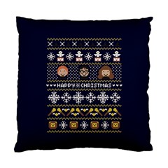 Merry Nerdmas! Ugly Christmas Blue Background Standard Cushion Case (two Sides) by Onesevenart