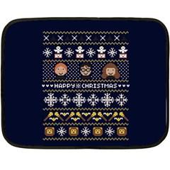 Merry Nerdmas! Ugly Christmas Blue Background Fleece Blanket (mini) by Onesevenart